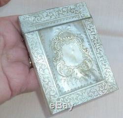 Beautiful Victorian Antique Carved Rococo Mother Of Pearl Calling Card Case Box