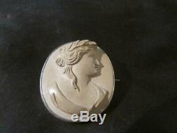 Beautiful Victorian Quality Solid Silver Bacchante Lava Cameo Brooch