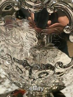 Big Heavy 15 Rare Peter Krider 1852 Coin Silver Repousse Wine Ewer Vase Engrave