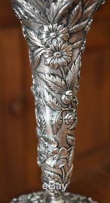 Breathtaking Victorian C 1906 S Kirk & Son Repousse Sterling Silver Trumpet Vase