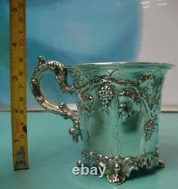C1865 Raised relief Victorian solid sterling silver 925 christening cup chalice