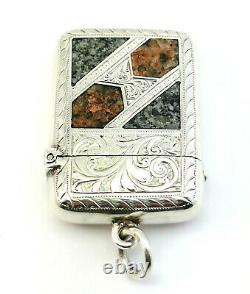 C1899, Jg&s, Antique Victorian Scottish Agate And Silver Vesta Case Match Safe
