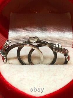 C19th Victorian Solid Sterling Silver Fede Gimmel Ring Size O, US=7. 4.6g