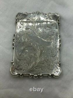Card Case Antique Late Victorian Sterling Silver, Flip Top, 3 1/4 x 2 1/2
