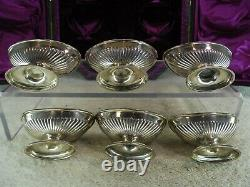 Cased Set of 6 Solid Silver Victorian Salt Cellars, London 1895