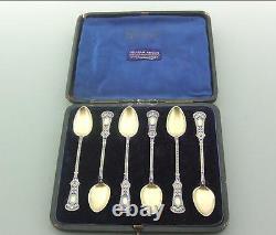 Cased Victorian Imported Solid Silver Gilt Enamel Spoons David Andersen