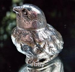 DELIGHTFUL VICTORIAN Sampson Mordan SOLID SILVER BIRD (WREN) POUNCE POT-SHAKER