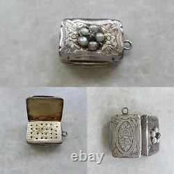 Diamond & Pearl Set Silver Vinaigrette Hilliard & Thompson Birmingham 1879