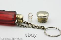 Double ended sent smelling salts bottle ruby red glass chatelaine gilt silver