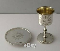 Early Victorian Solid Silver Chalice & Paten Part Communion Set Birm. 1848