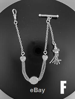 #F. Victorian Sterling Silver Albertina / Albert Watch Chain / Bracelet. NICE1