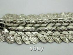 Fabulous 1882 Victorian Solid Silver Ornate Locket And Collarette Chain