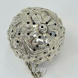 Fabulous Sterling Antique Tea Ball Infuser Blown Out Flowers Unknown Maker