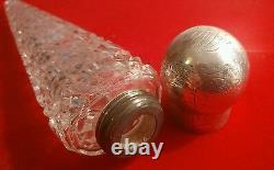 Fabulous Victorian'lay Down' Silver Top Cut Glass Perfume Flask H/m London 1863