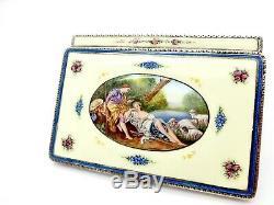 Fabulous Vintage Austrian Portrait Romance Enameled Gilt Sterling Silver Compact