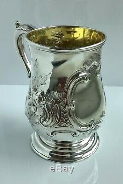 Fabulous embossed STERLING SILVER GILT PINT MUG London 1875 BEER TANKARD