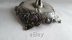 Fine Antique Victorian Repousse Sterling Silver Figural Cupid Candlestick