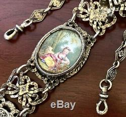 French Rare Hand Painted Gilt Sterling Silver Victorian Chatelaine Pocket Watch