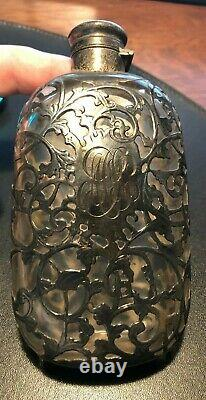 Gorham Antique Flask Sterling Silver 3/8 Pt Art Nouveau Victorian Filigree