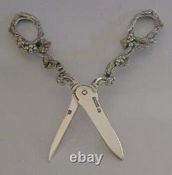 HEAVY 107g ANTIQUE ENGLISH SOLID STERLING SILVER GRAPE SHEARS SCISSORS 1893
