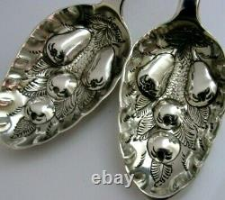 HEAVY VICTORIAN ENGLISH STERLING SILVER BERRY SERVING SPOONS 1838 ANTIQUE 150g