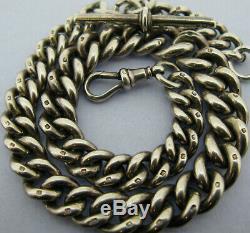Heavy Antique Victorian Solid Silver Albert Pocket Watch Chain & T-Bar Bir 1897