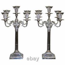 Huge Pair Of 7.5kg Sterling Silver Asprey Five Branch Candlesticks Candelabra 5