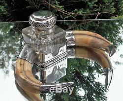 IMPRESSIVE QUALITY VICTORIAN Hukin & Heath SOLID SILVER HORN INKSTAND & INKWELL