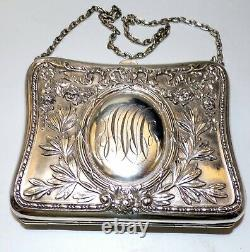 Incredible Sterling Silver Dance Purse. Repousse Hallmarked Inside Compartments
