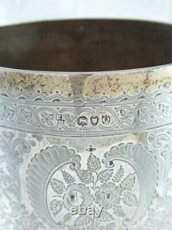 LARGE ANTIQUE VICTORIAN SOLID STERLING SILVER WINE GOBLET CHALICE CUP 1891 344 g