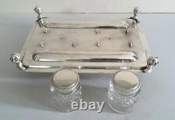 LARGE, IMPRESSIVE VICTORIAN ANT. SOLID SILVER INK- STAND. 1,353gms. LON. 1898