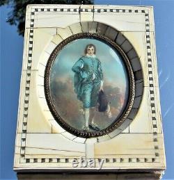 LOVELY VICTORIAN FRAMED PORTRAIT MINIATURE BLUE BOY after Gainsborough SIGNED