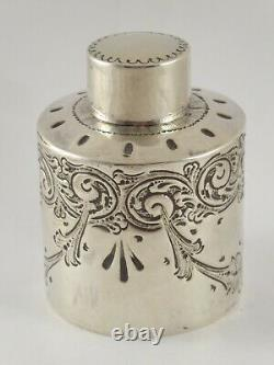 LOVELY VICTOTRIAN SOLID STERLING SILVER TEA CADDY CANISTER ATKIN BROS 1894 76g