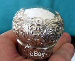 Large (564g) Cut Glass Silver Lid Globular Perfume Bottle Chester 1898 G Watts
