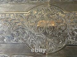 Large 900 Sterling Silver Hand Engraved Cigarett Or Playing Card Box