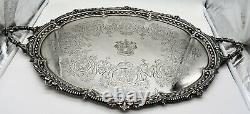 Large English sterling silver 2 HANDLED TRAY 1903. FRUIT & FLOWERS. CREST 3,400GM