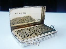 Large Silver Vinaigrette, DREAD GOD Crest, Birmingham 1876, Monro Crest