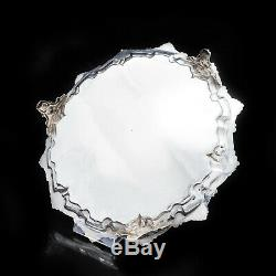 Large Victorian Solid Silver Salver Tray with Foliate Engravings Henry Holland