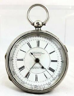 Large Victorian Sterling Silver Keyless Chronograph Pocket Watch 20005