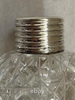 Lay Down' Silver Top Cut Glass Perfume Flask H/m London