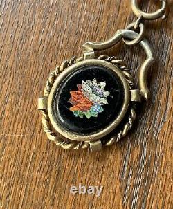 MICROMOSAIC Onyx Silver Gold Victorian Magnifying Locket Mourning Pendant Floral