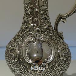 Mid 19th Century Antique Victorian Scottish Sterling Silver Wine Jug Glasgow1853