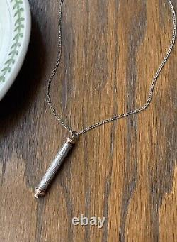 Mistletoe SOLID Silver Rose Gold Retractable Chatelaine Pencil Nouveau Pendant