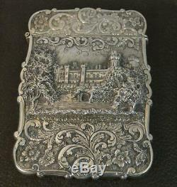 Nathaniel Mills Castle Top Solid Silver Victorian Card Case of Kenilworth Castle