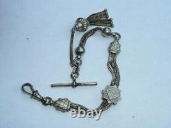 Nice Solid Silver Victorian Ladies Pocket Watch Albertina Chain T Bar And Tassel