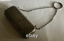 Ornate Sterling Silver Coin Holder On Chain For Chatelaine