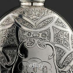 Ornate Victorian Solid Sterling Silver Hip / Liquor Flask. George Unite, Birm