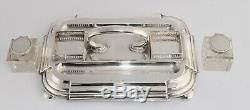 Outstanding 1897 Heavy Solid Sterling Silver Desk Stand with Double Ink Wells