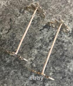 PAIR of rococo style VICTORIAN solid 800 grade krischer SILVER KNIFE RESTS