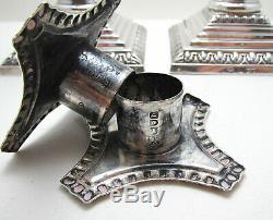 Pair ANTIQUE Victorian Corinthian Column English Sterling Silver Candlesticks